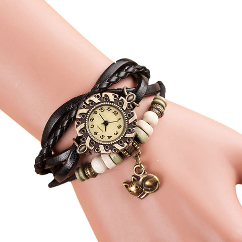 Beaded Cat Watch Bracelet black