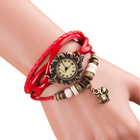 Beaded Cat Watch Bracelet red