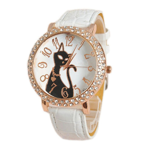Forever Crystal Cat Wristwatch
