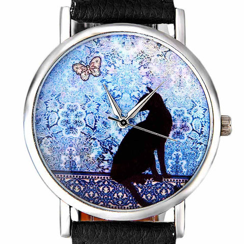 Butterfly Daydream Cat Wristwatch black