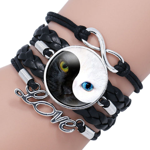 Yin Yang Braided Cat Bracelet