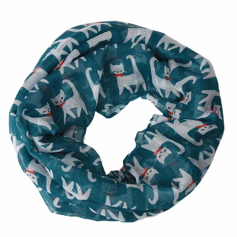 Bows and Whiskers Cat Scarf blue