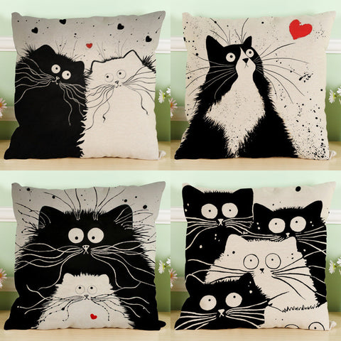 Monochrome Cat Pillow Case Collection
