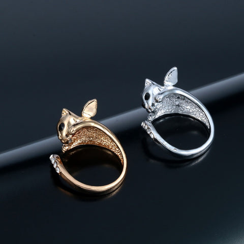 two angel kitty cat rings