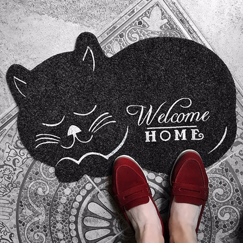 Snuggling Cat Welcome Mat