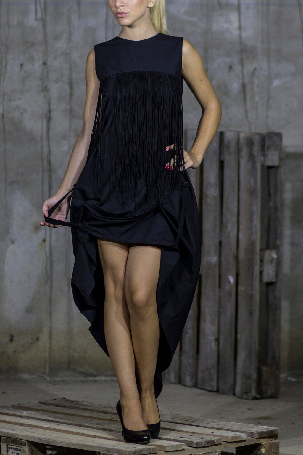 High low adjustable black fringe dress