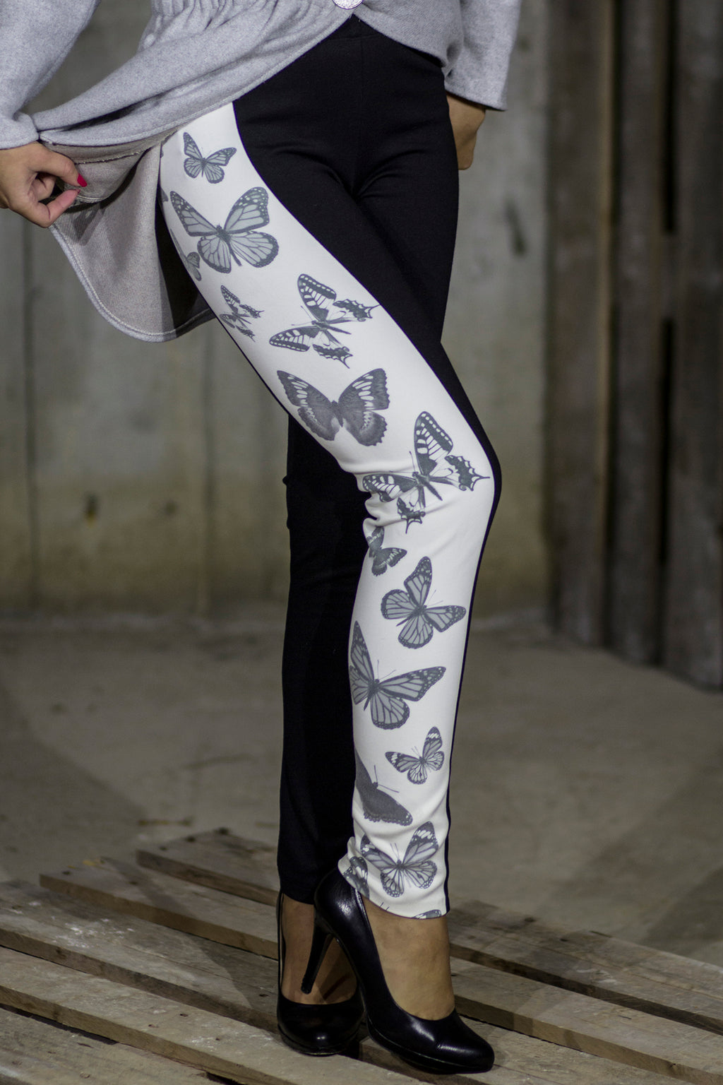 Black and white butterfly leggings