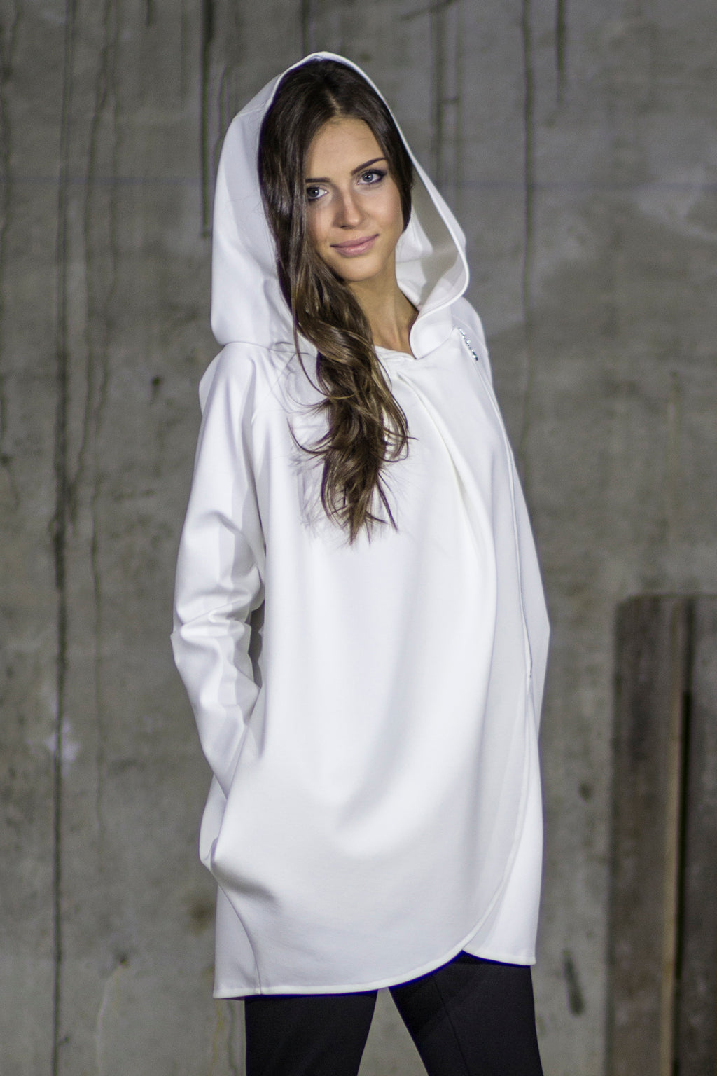 Plain white warm woollen wrap front hooded zip coat