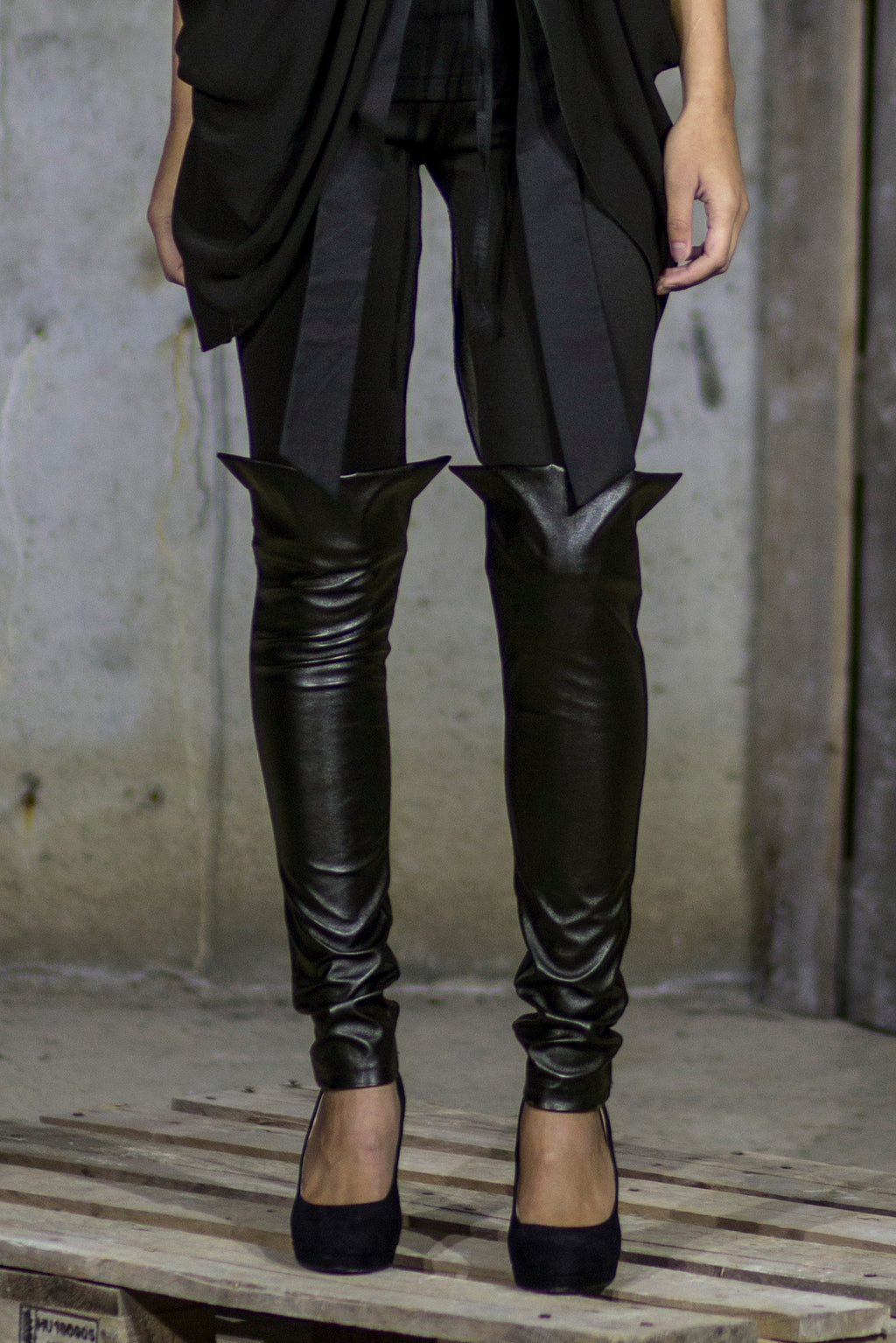 Black leather boot leggings