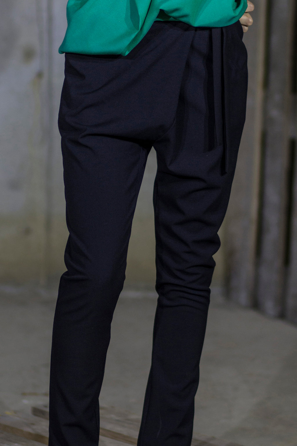 Black drop crotch tapered pants