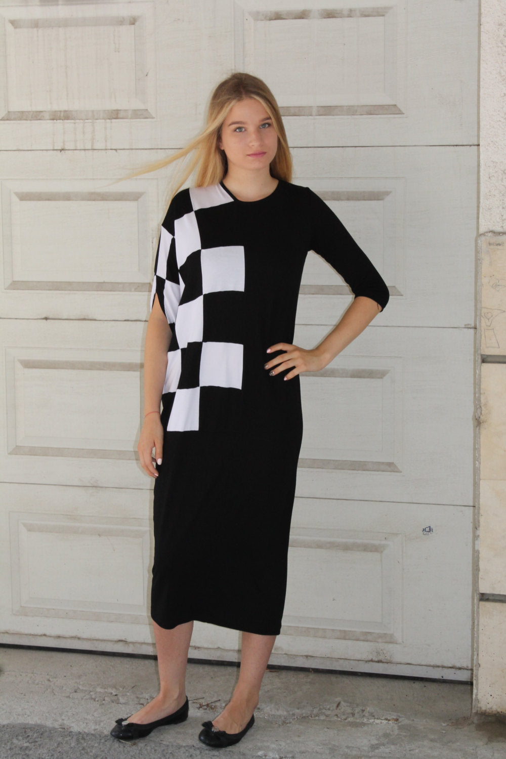 Maxi asymmetric stretchy checkered dress