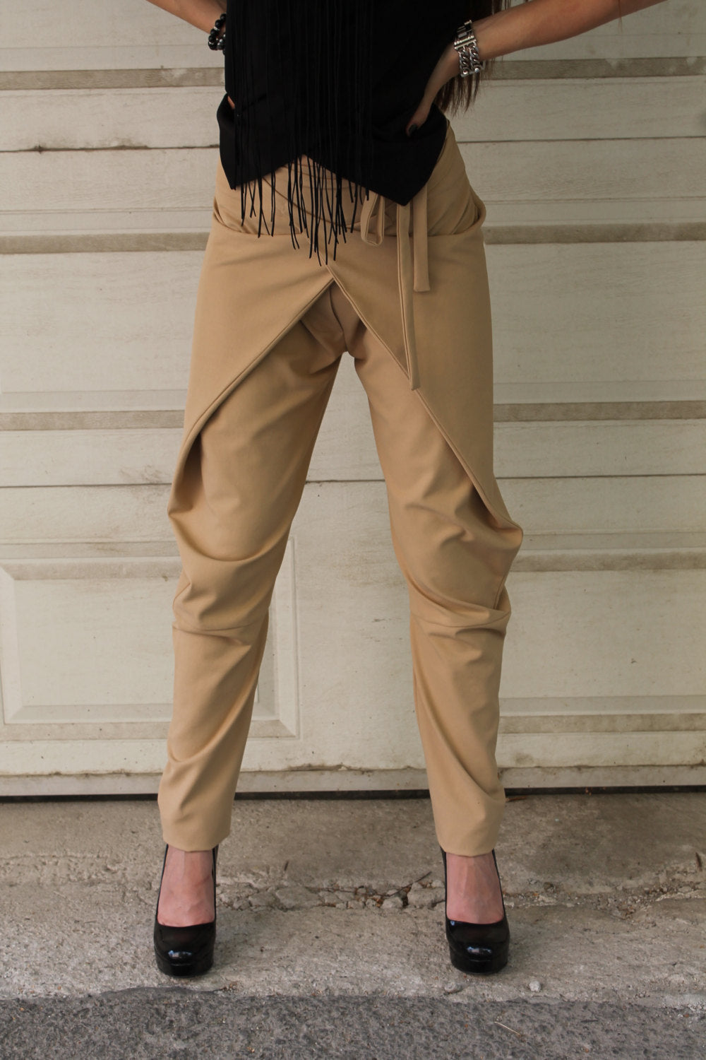 Wrapover beige casual pants