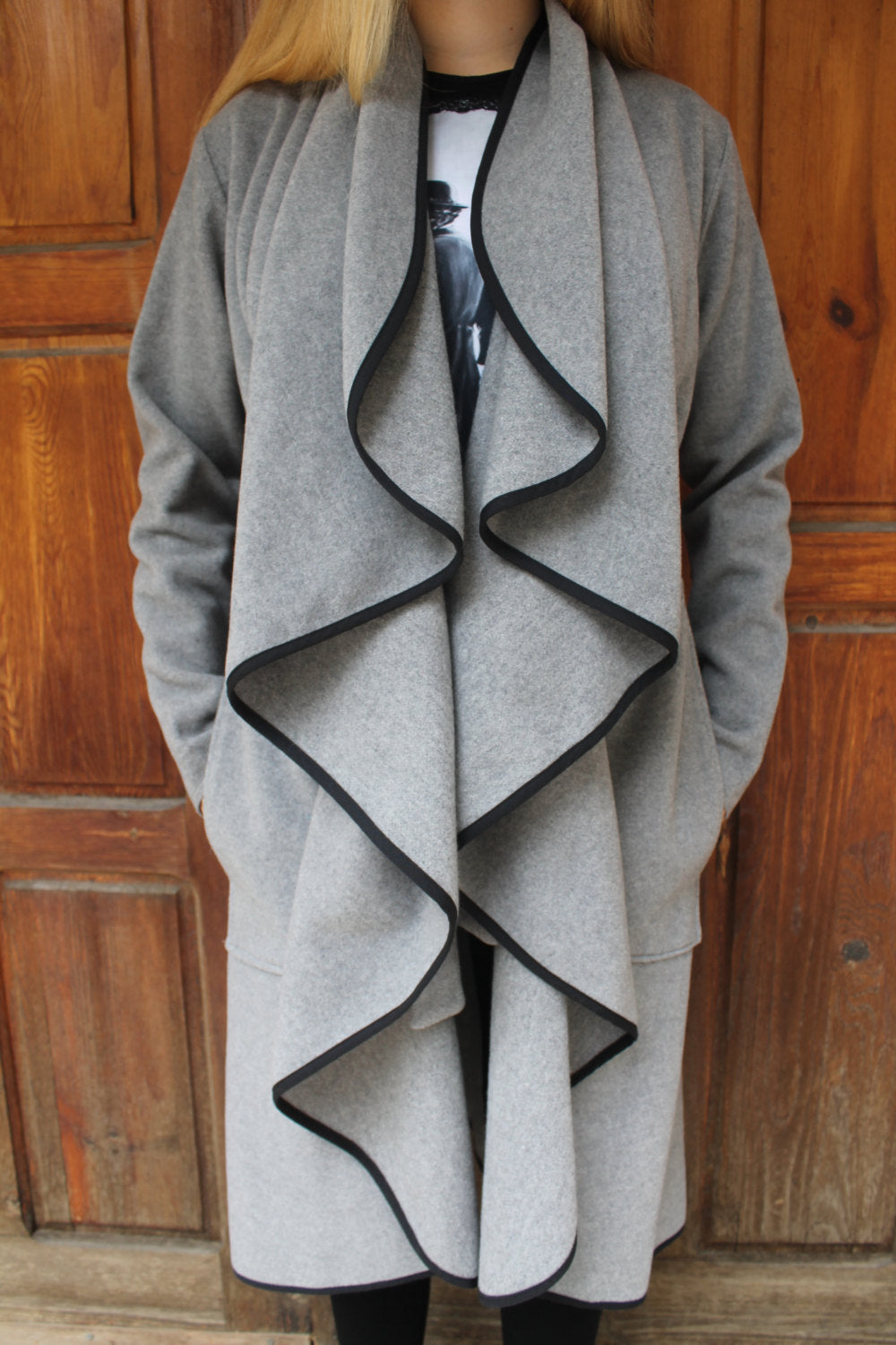 Gray belted woollen frilly coat