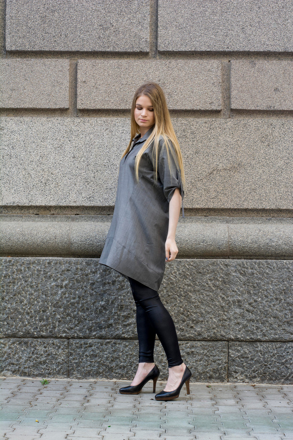Oversized summer gray tunic shirt