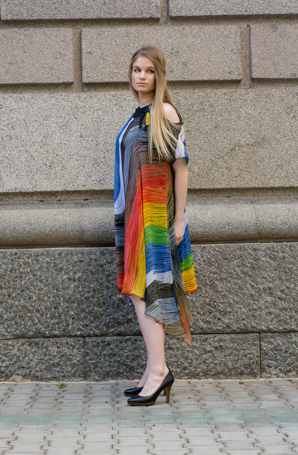 Rainbow midi flowy dress