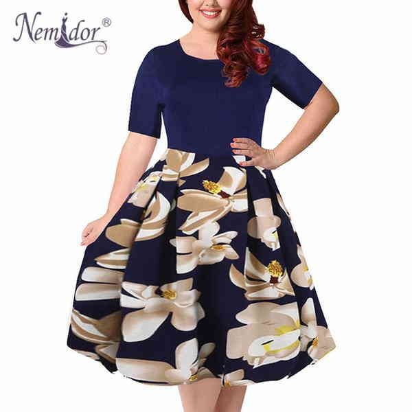 Nemidor 2017 Summer Vintage Floral Print A-line Dress With Pockets ... e474c1c6b27d