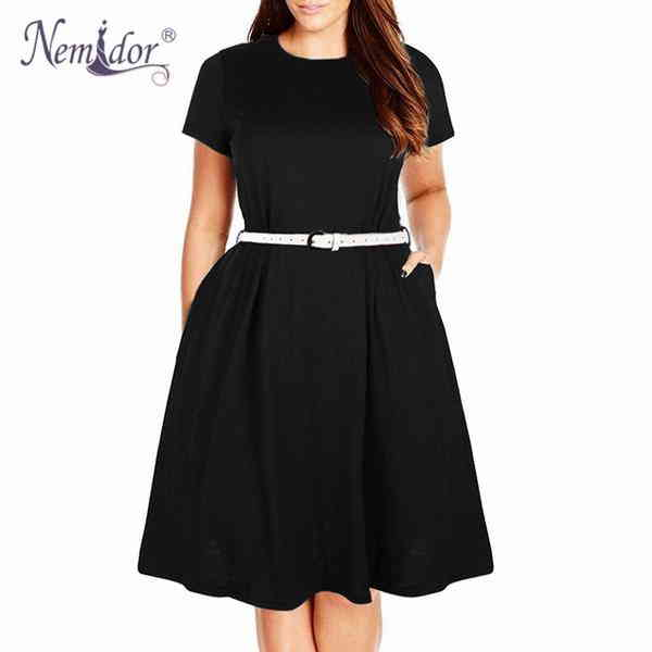 87326776e94 Nemidor Summer Vintage 50s Stretchy Midi Swing Dress With Pockets ...