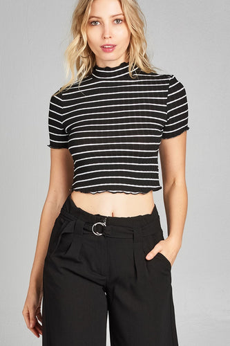 30c555f169f38 42Fifteen Boutique Black and White Striped High Neck Short Sleeve Crop Top