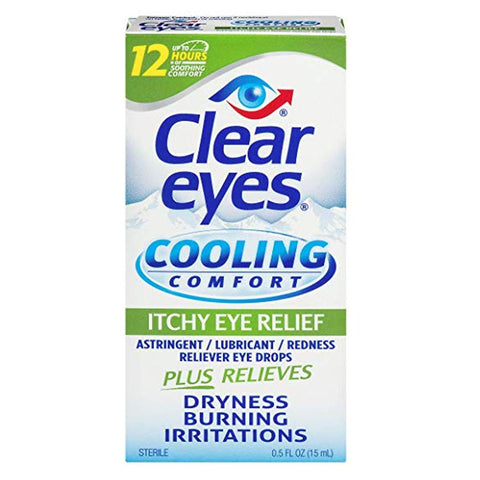 Clear Eyes Cooling Comfort Itchy Eye Relief Eye Drops 0.5 oz - Mr Bundle