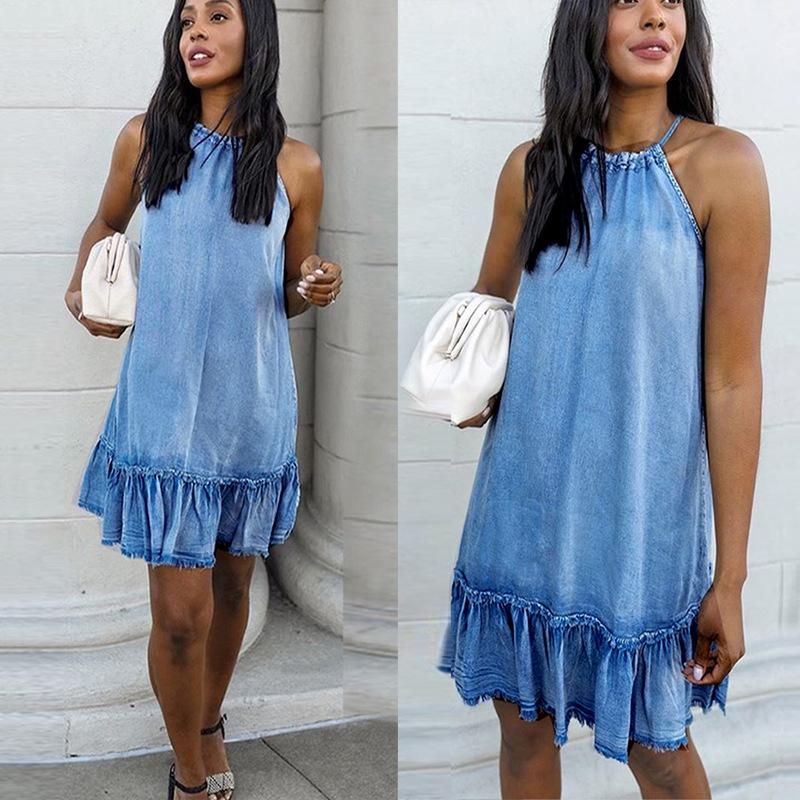 Sleeveless Halter Denim Tank Dress