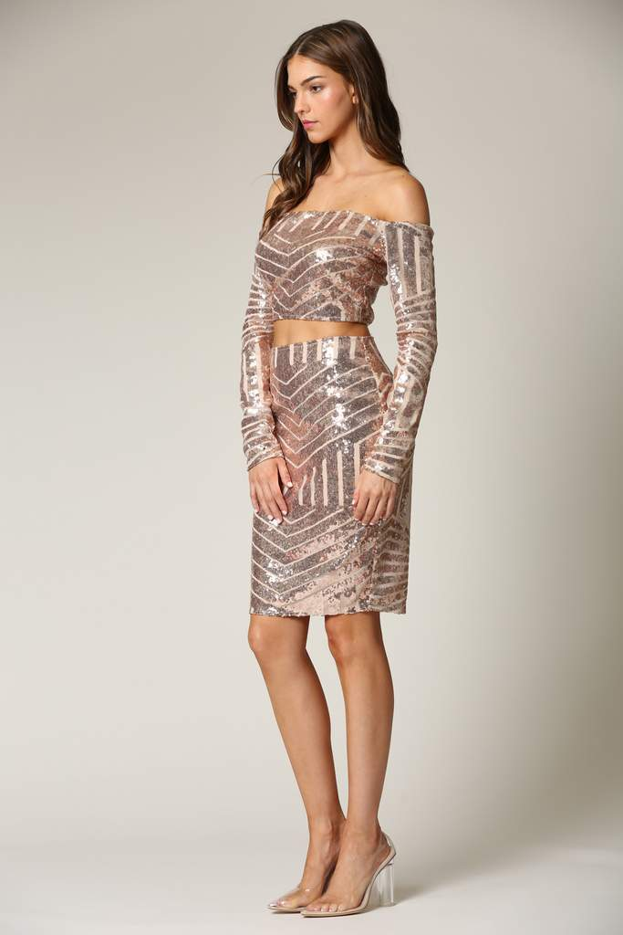 Sequin Abstract Skirtsuit