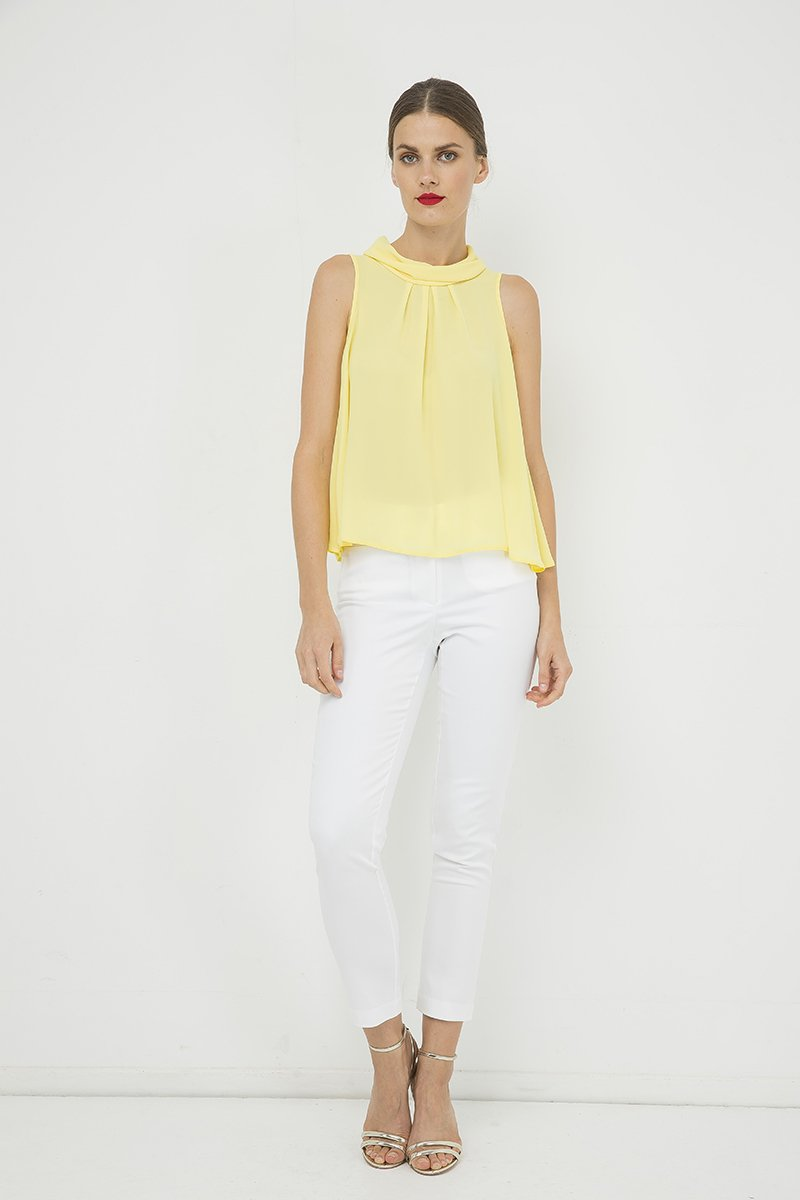 Glam Yellow Pleated Blouse
