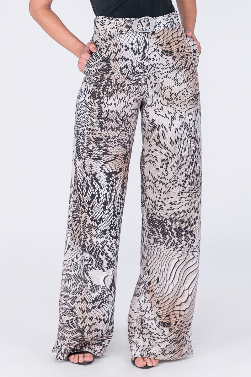 Glam Printed Wide Pants with Belt