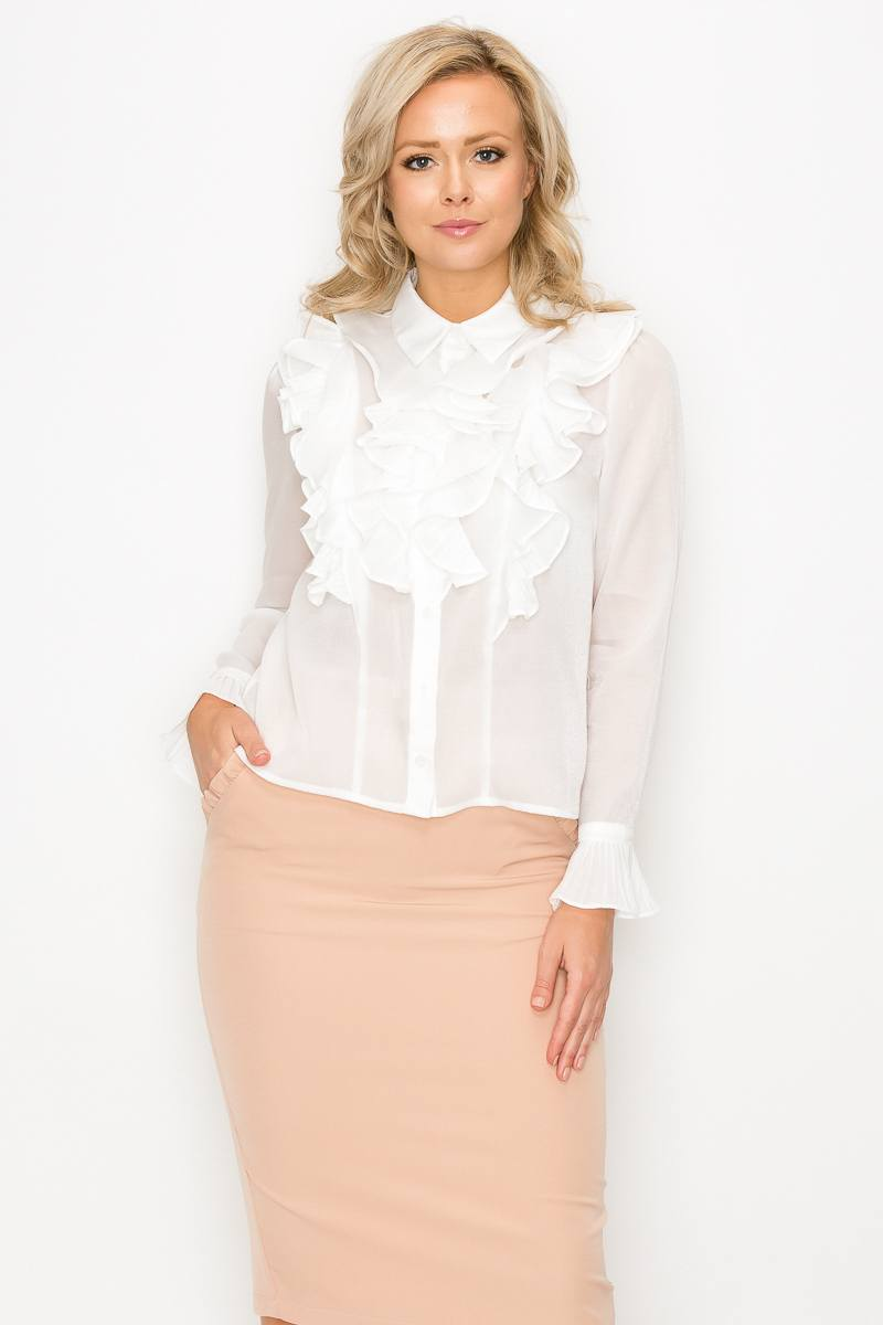 Solid Front Ruffle Detail Sheer Blouse