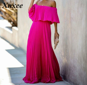 Women Long Chiffon Slash Neck Off Shoulder Party Dresses