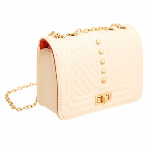 Ivory Quilted Chevron Crossbody