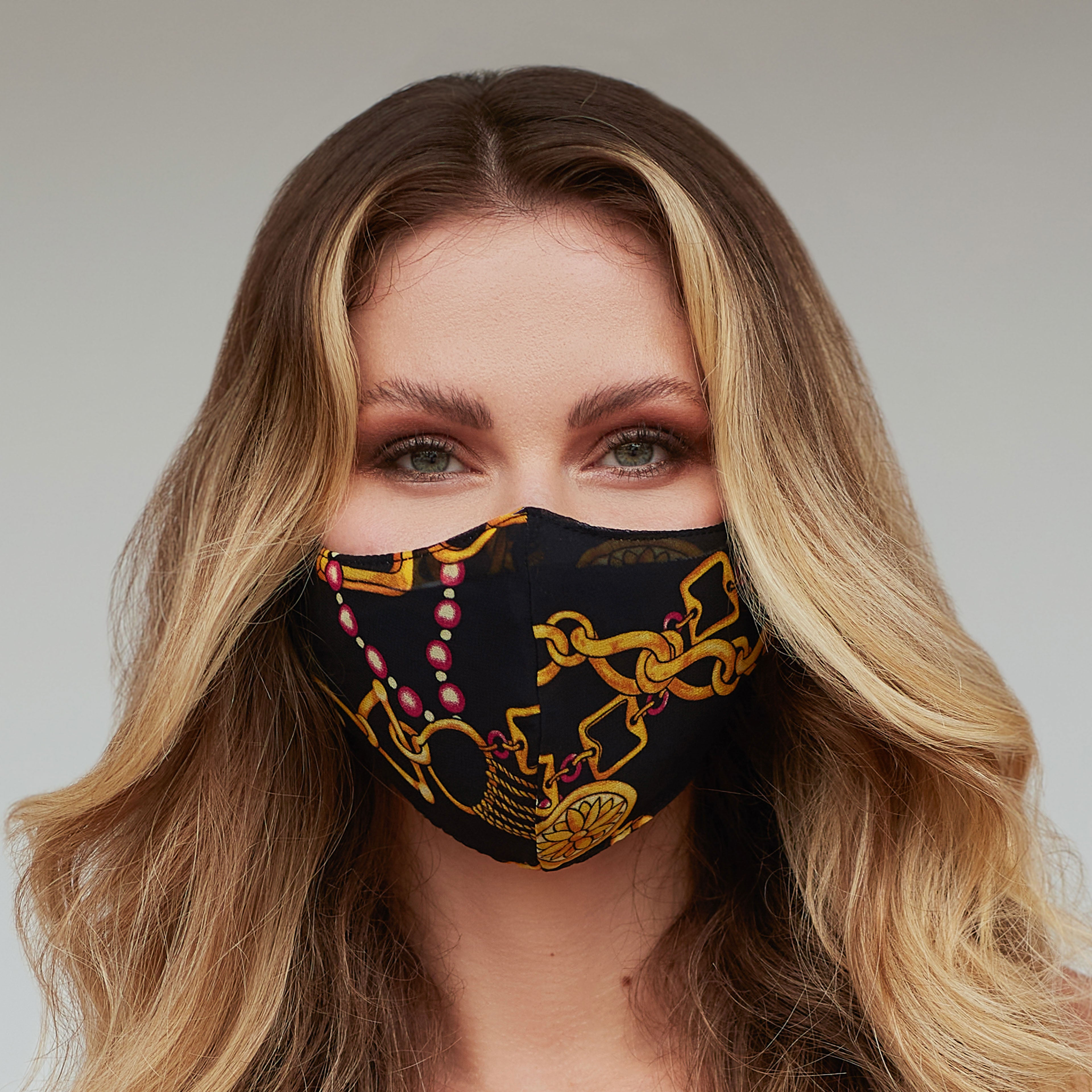 Glam Gold Chains Face Mask