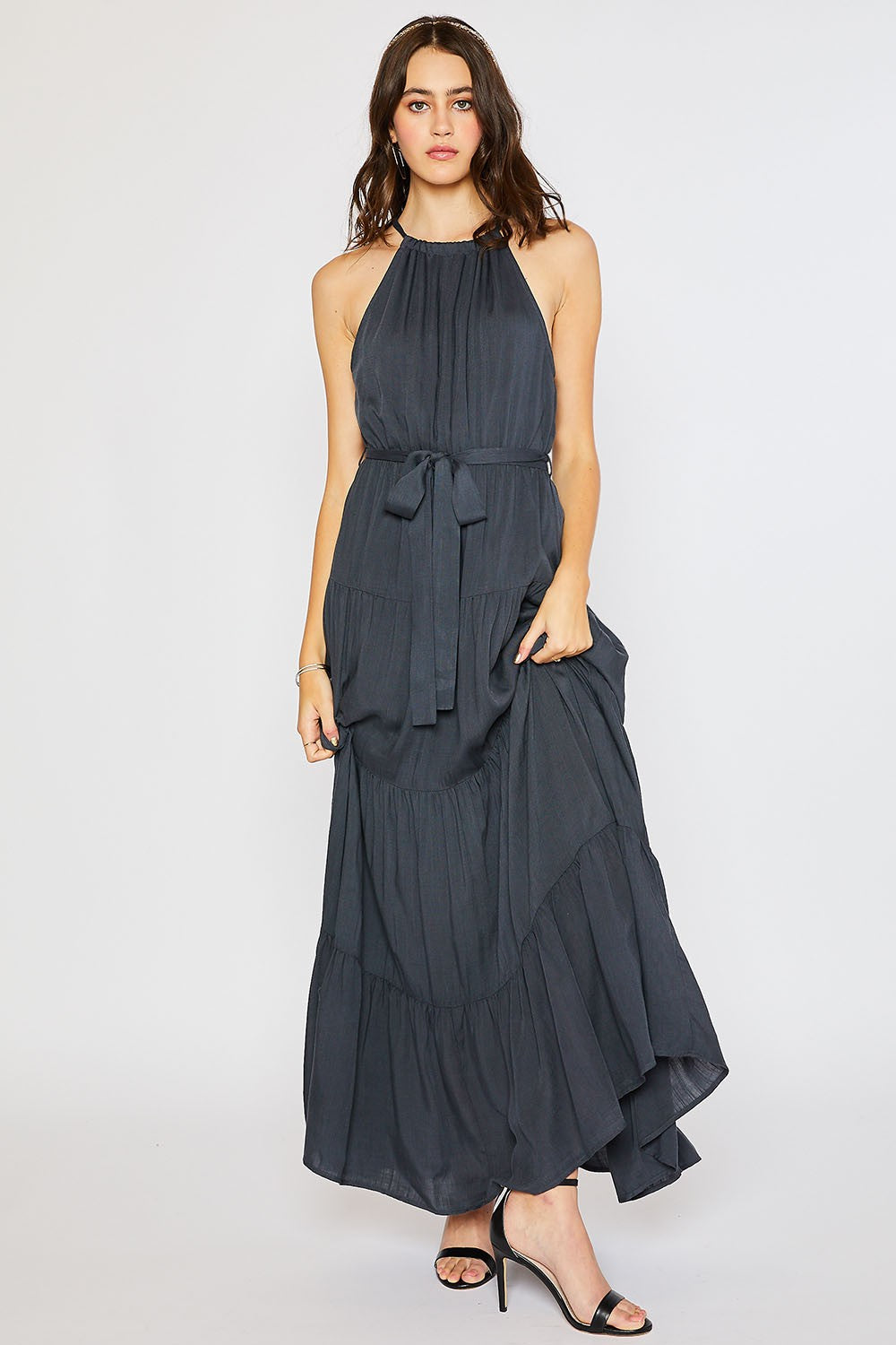 Halter Tiered Maxi Dress