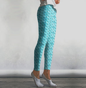 High Waist Baby Blue Mermaid Leggings