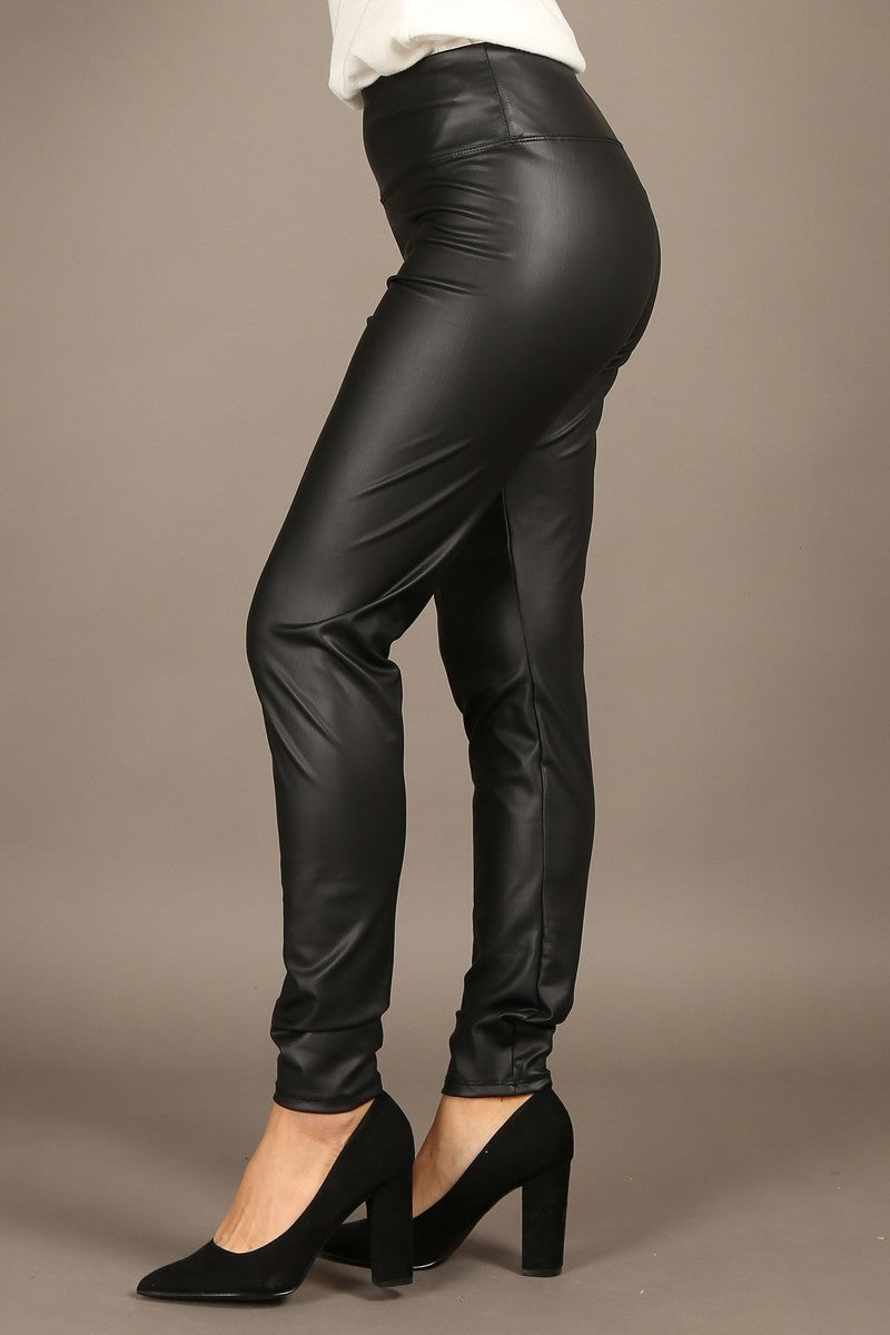 Skinny Fit Faux Leather Pants with Banded Waist