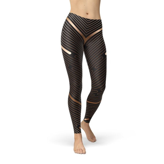 Women Striped Lines Sports Brown Leggings