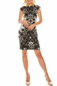Soft Black and White Lace & Filigree Printed Sheath Dress