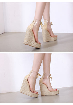 Women Transparent Lace-Up Wedges High Heel Shoes