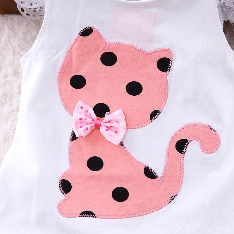 Glam Children Polka Dot Cat Shorts Suit