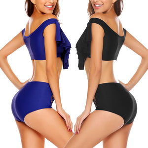 Glam Two Piece High Waist Ruffle Swimsuit