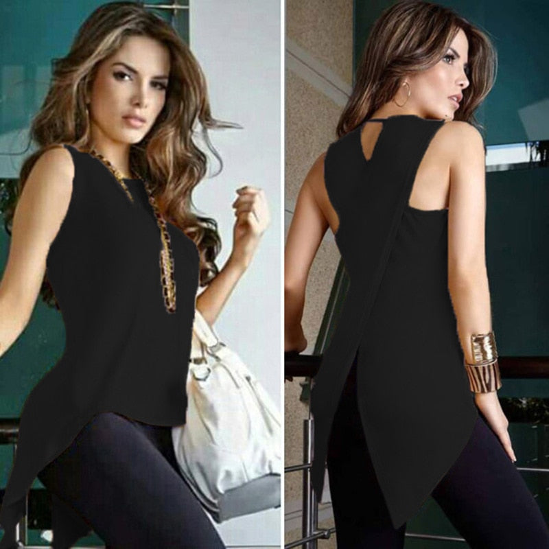 Women Cross Irregular Blouse