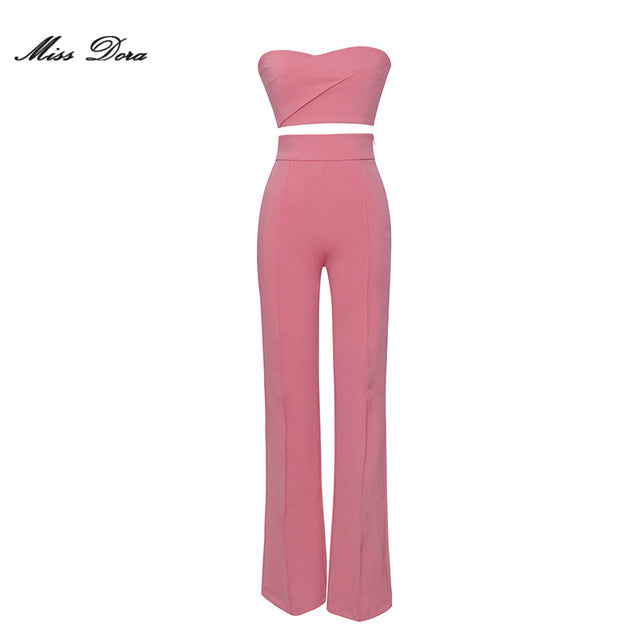 Glam Stretch High Waisted Women Loose Crop Top Pantsuit