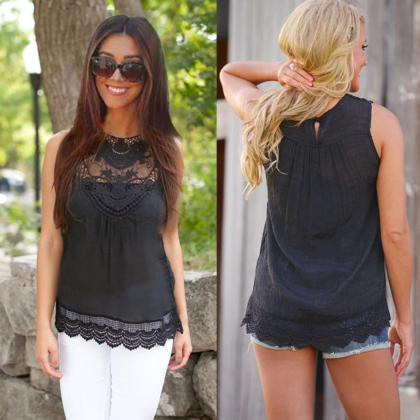 Sleeveless Casual Lace Blouse