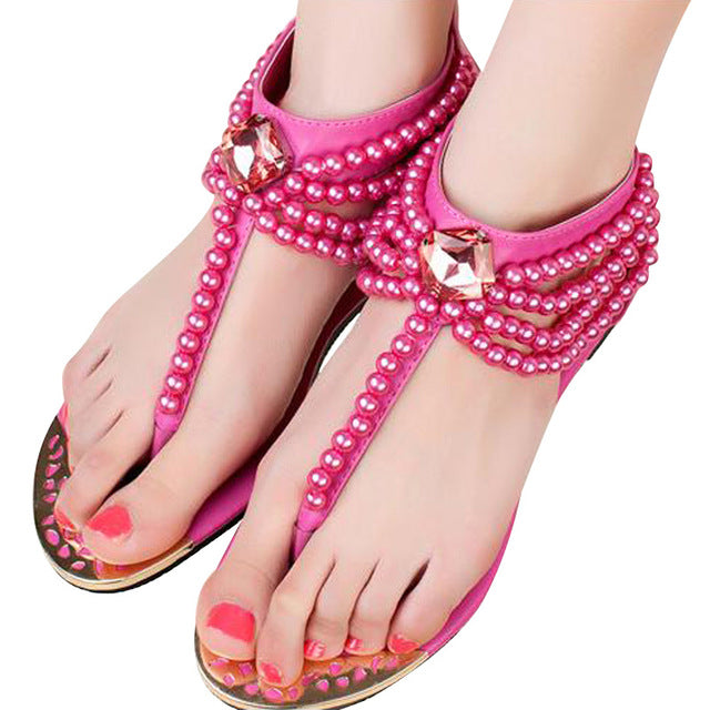 Eastside Glam Pearls T-Strap Sandals