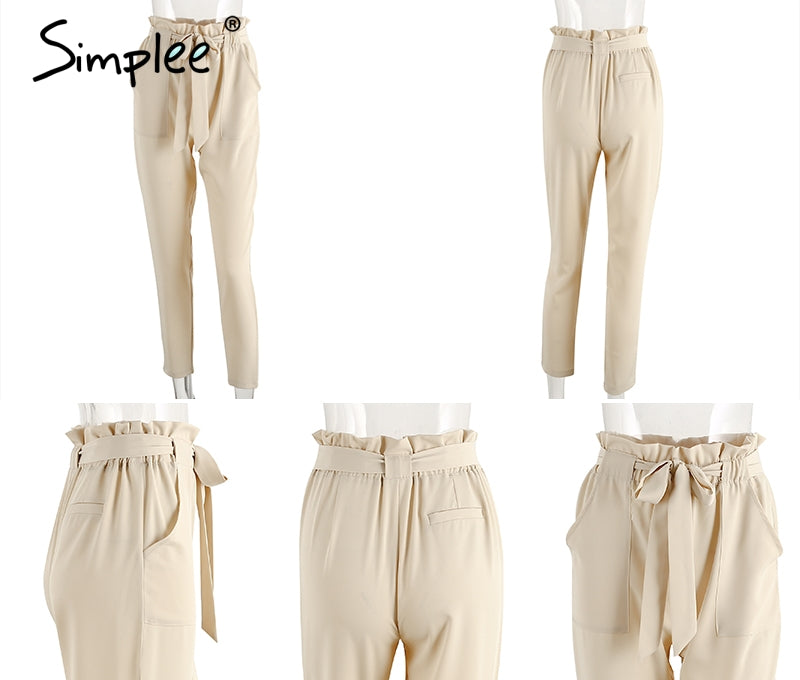 Chiffon Casual High Waisted Women Pants