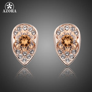 Rose Gold with Cubic Zirconia Stud Earrings