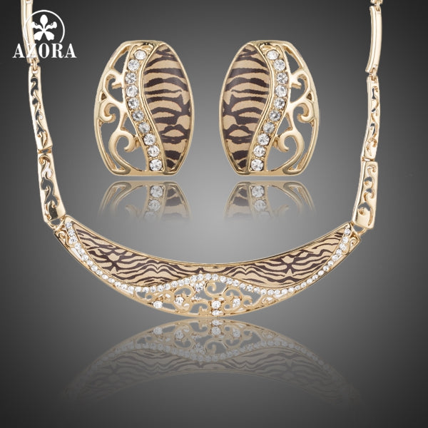 Glam Leopard Gold Stellux Austrian Crystal Stud Earrings and Pendant Necklace Set