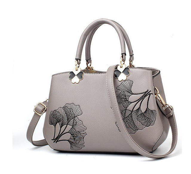 Women's Glam Leather Embroidery Flower Satchel Handbag