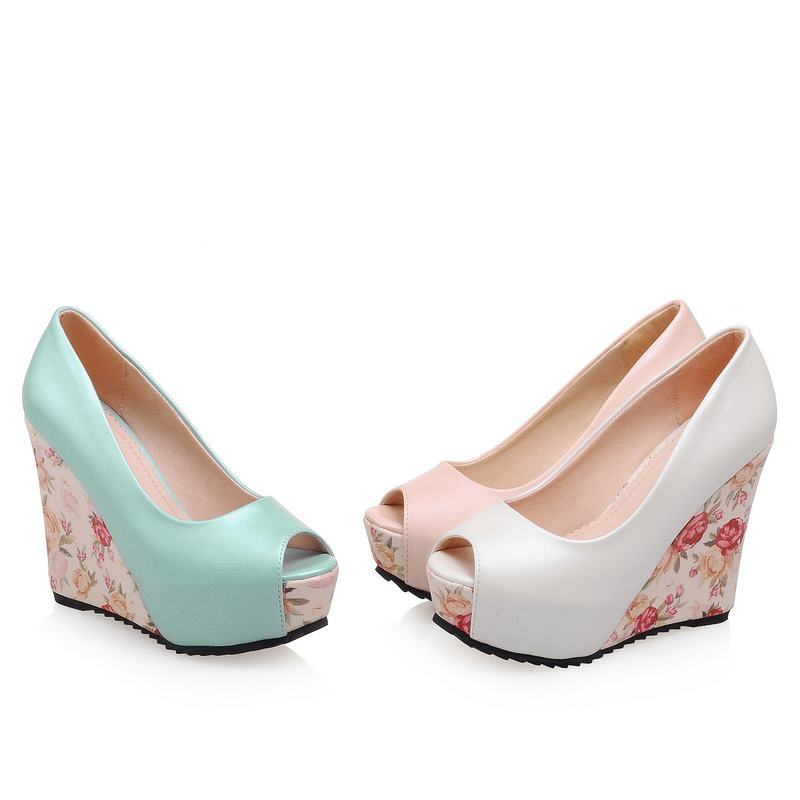 Peep Toe Wedge Slip on Party Shoes