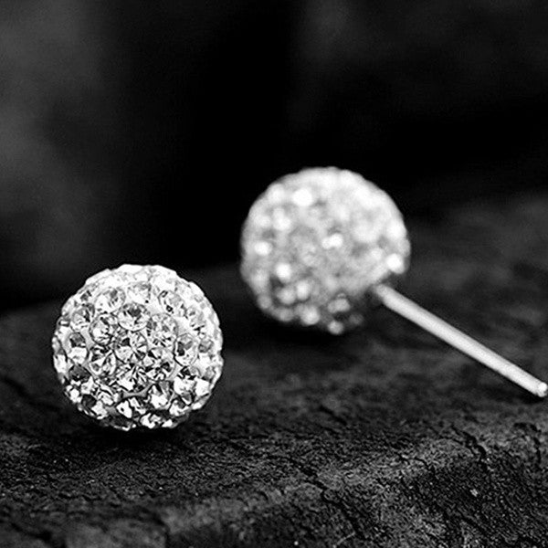 Glam Crystal Rhinestone Ball Studs Earrings