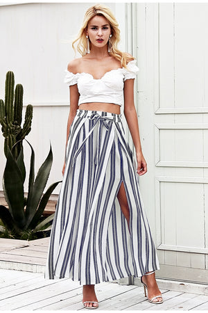 High Waist Loose Striped Split Women Pants